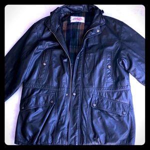 Perry Ellis Vintage Leather Hooded Coat 🔥🖤